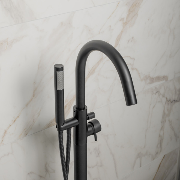 crosswater mpro robinet de baignoire sur pied avec douchette noir mat