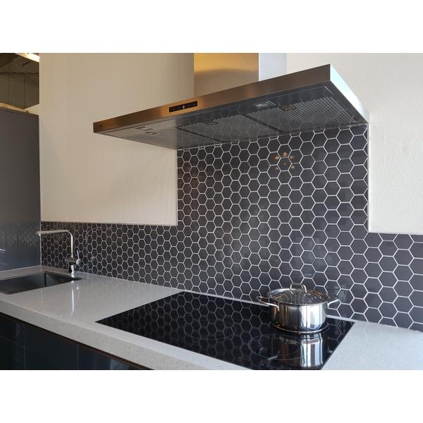 the mosaic factory barcelona carrelage mosaique 5 1x5 9x0 5cm pour mur interieur et exterieur hexagonal porcelaine gris fonce brillant