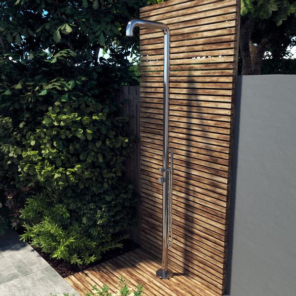 saniclass outdoor original colonne de douche de jardin avec douchette inox brosse