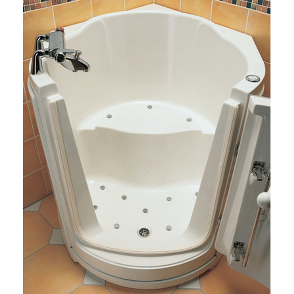 nemo spring ibiza baignoire assise d angle porte droite 120x99cm acrylique avec vidage et trop plein blanc