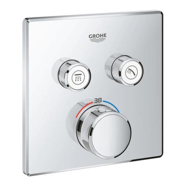 grohe smartcontrol partie de finition pour robinet de douche encastrable thermostatique avec inverseur 2 voies carre chrome
