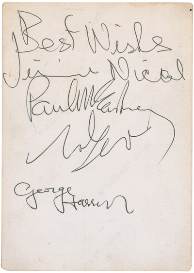 Rr Autograph Auctions Consignment Agreement: RR Autograph Auctions Beatles Candid Beatles Portrait With