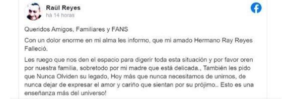 Print do Facebook do irmão de Rey anunciando a morte dele