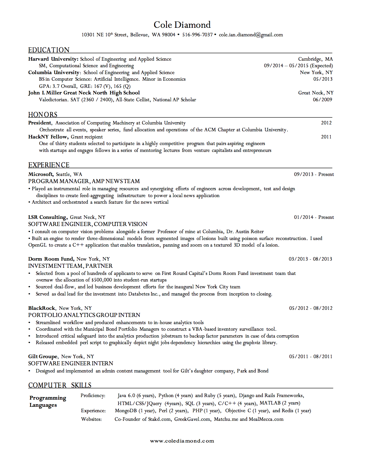 College Resume Examples Harvard Resume Cole Diamond
