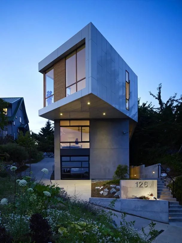 outside kitchen designs wooden stools pb elemental fits otherworldly house on odd seattle lot ...