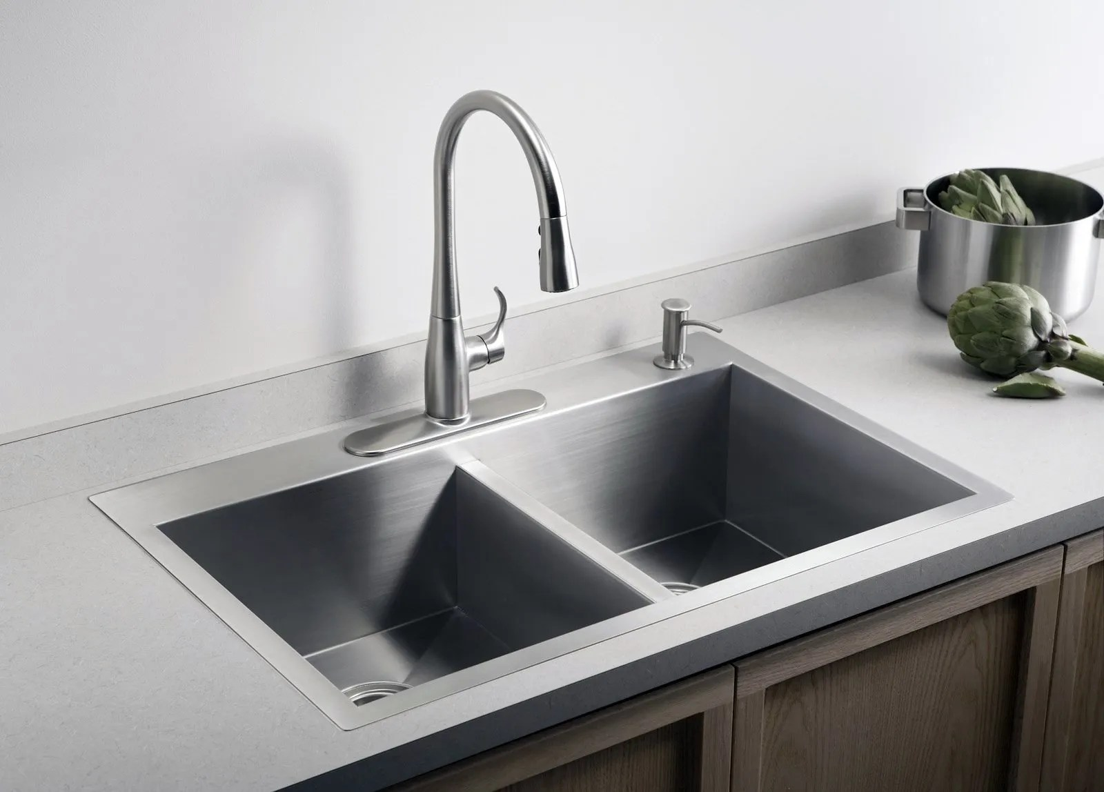under mount kitchen sink decorating walls dual opens up options for counter the seattle times a can be mounted as drop in or