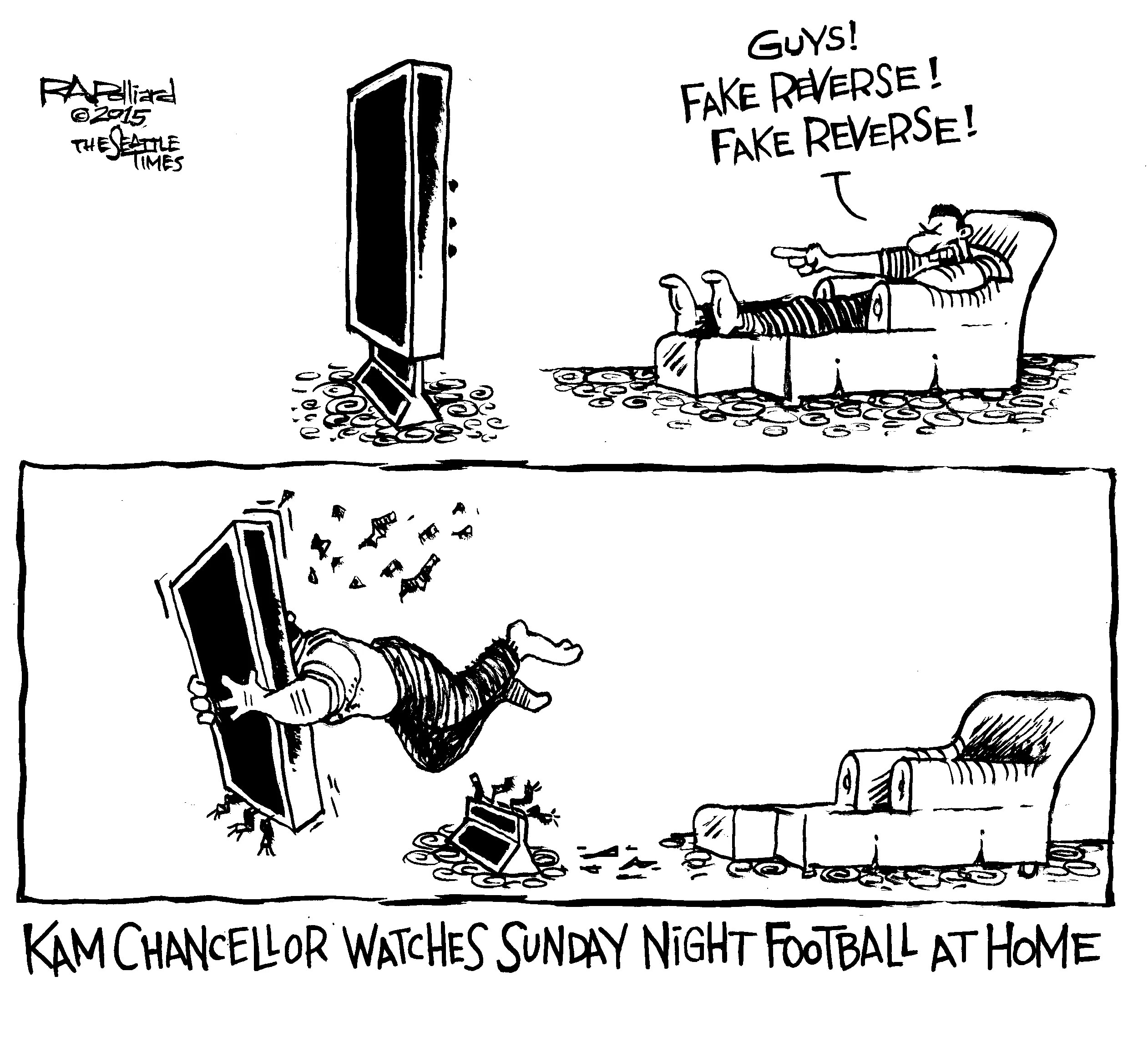 Sunday sports cartoon: Kam Chancellor watches the Seahawks