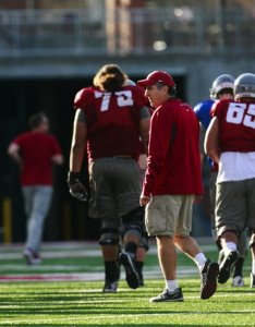 Head football coach mike leach watches practice at washington state university thursday march also way too early wsu cougars depth chart projection the rh seattletimes