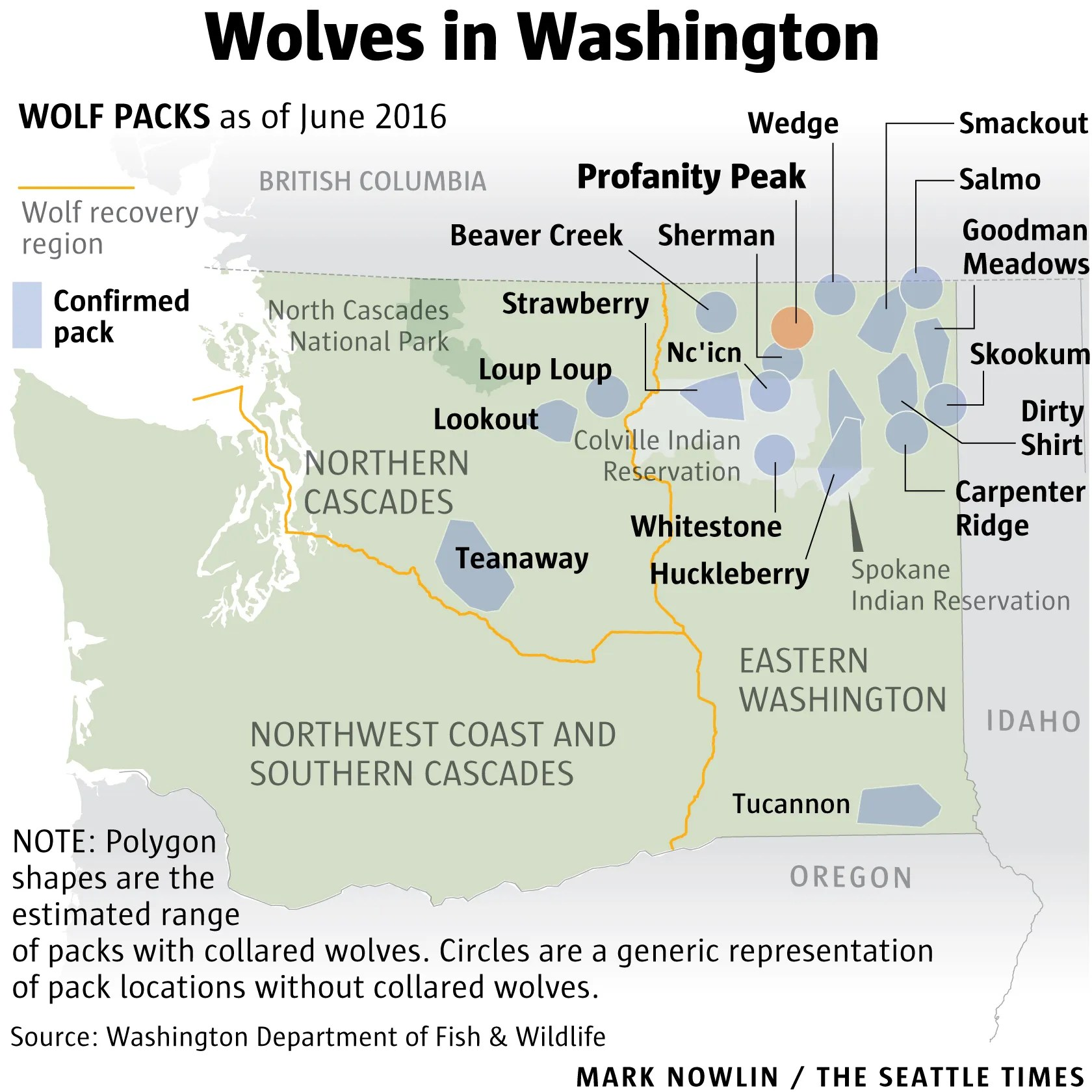 Washington Department of Fish & Wildlife authorized fieldstaff to kill the Profanity Peak wolf pack to prevent more attacks on cattle in the rangelands between Republic and Kettle Falls.