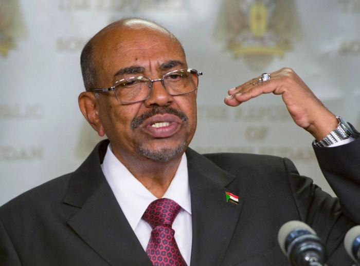 FILE – In this Monday, Jan. 6, 2014 file photo, Sudanese President Omar al-Bashir speaks after meeting with South Sudan's President Salva Kiir, in the capital Juba, South Sudan. (AP Photo/Ali Ngethi, File)