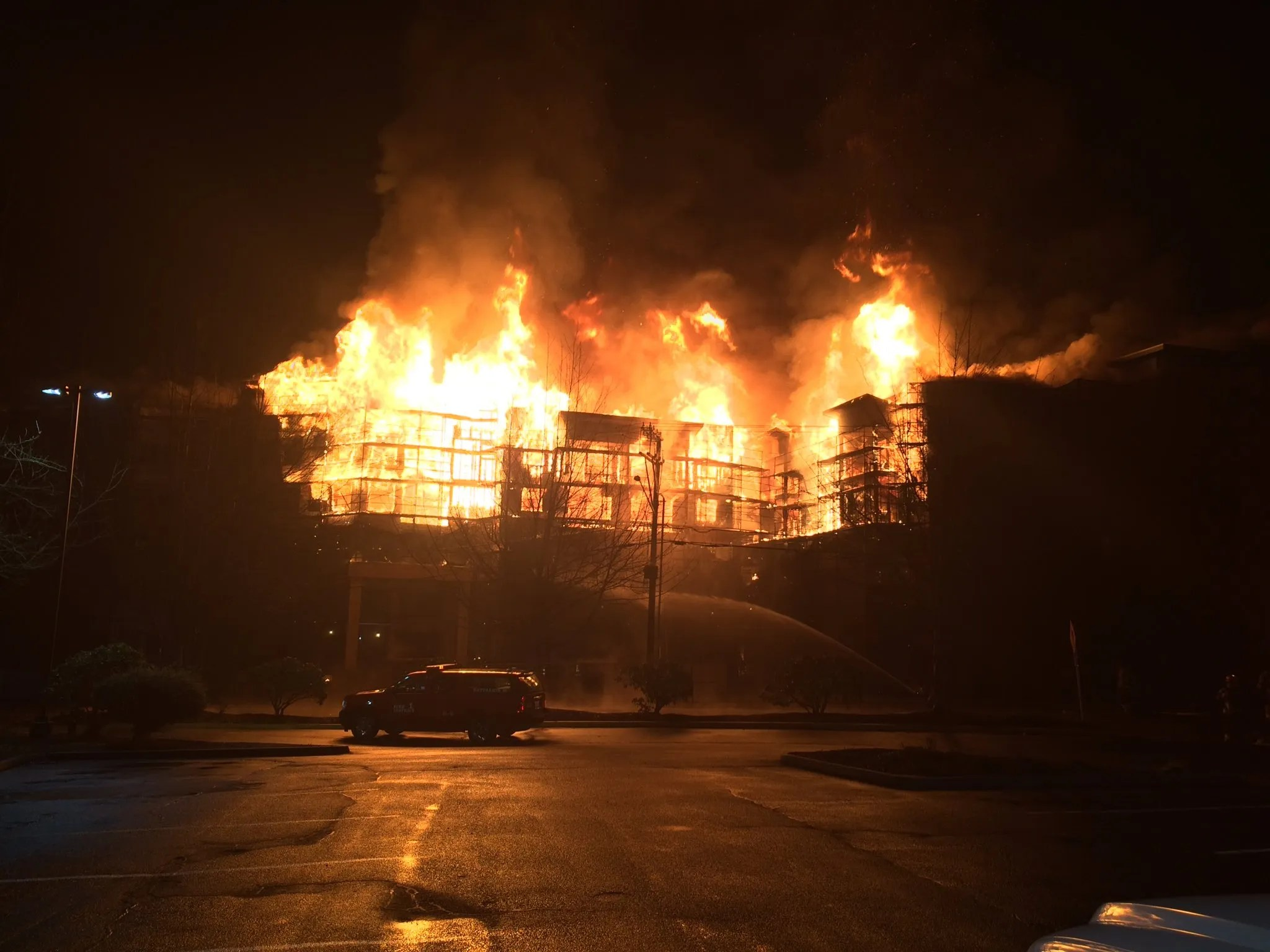 2 firefighters hurt in massive blaze at senior apartments