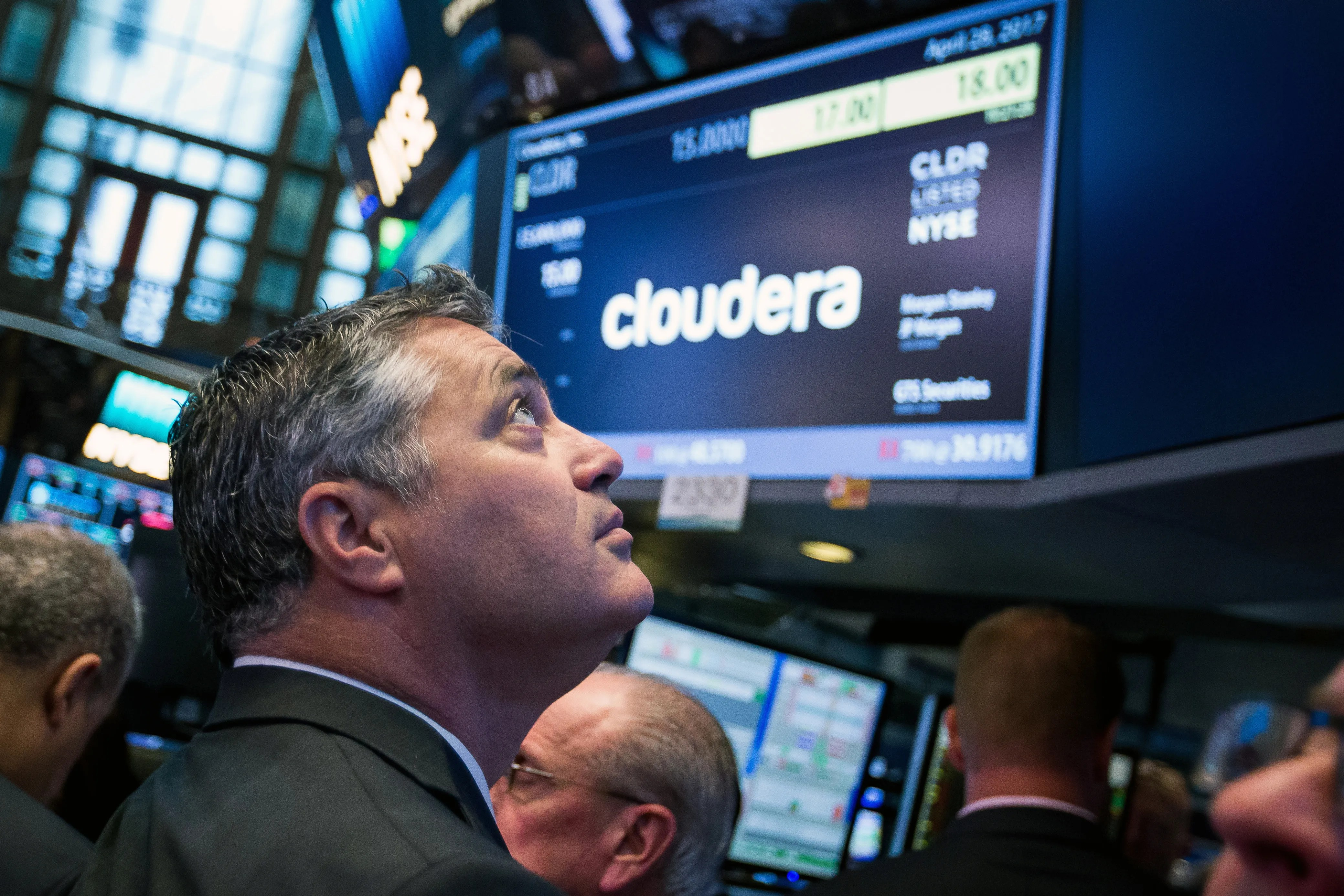 Tom Reilly, CEO of Cloudera, on the floor of the New York Stock Exchange during the company's initial public offering on April 28. (Michael Nagle/Bloomberg)