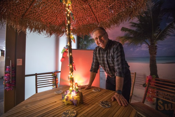 Microsoft engineer Dean Lester in the company's Tiki Bar conference room that he designed. Lester left Microsoft, then returned.  (Steve Ringman/The Seattle Times)