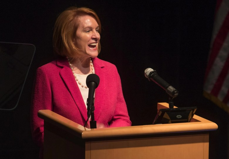 Mayor Jenny A. Durkan said Tuesday at her second State of the City speech that her administration has been laying the groundwork for a more vibrant city by striking deals to build a new park on the downtown waterfront and to have the Seattle Center's arena renovated for hockey and concerts. (Steve Ringman / The Seattle Times)