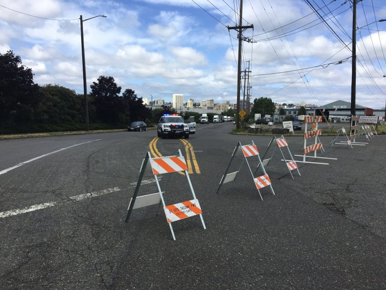 Tacoma Police reported an officer-involved shooting early Saturday  at the Northwest Detention Center, the holding facility in Tacoma for U.S. Immigration and Customs Enforcement. (Rebekah Welch / The Seattle Times)