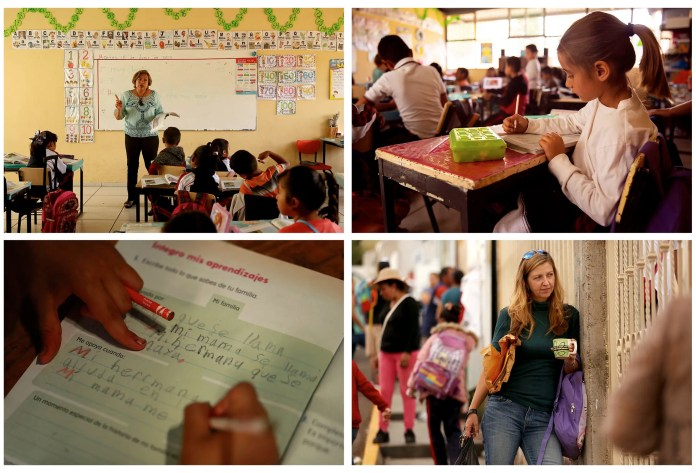 Catalina, a first-grader, is learning to read and write in her class in Zacatecas. At lower right, Joy waits for her two girls at the end of the school day. (Erika Schultz / The Seattle Times)