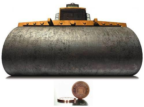 Pennies in front of a steamroller