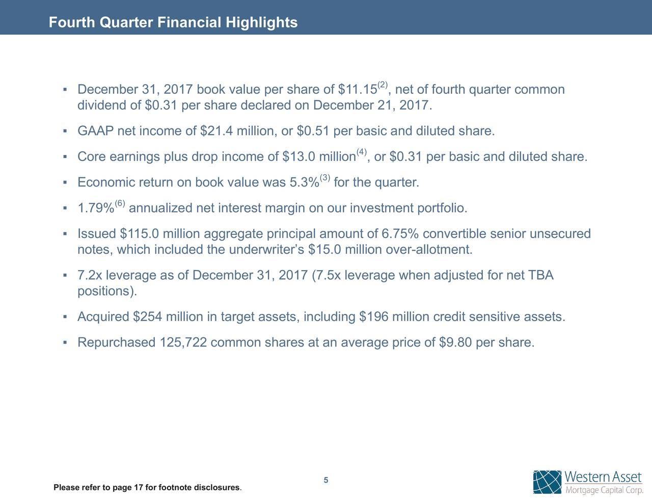 Western Asset Mortgage Capital Corporation 2017 Q4
