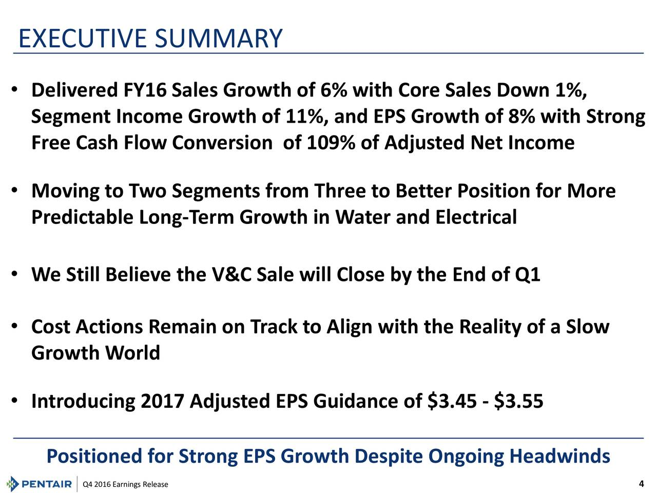 Pentair Inc. 2016 Q4 - Results - Earnings Call Slides