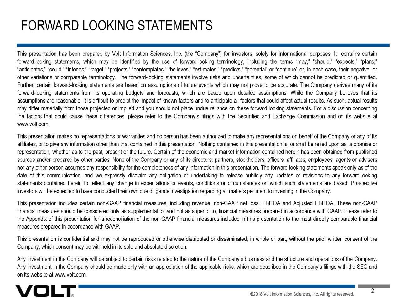 Volt Information Sciences, Inc. 2018 Q3