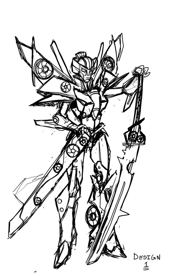 Early Design Concept Sketches of Fan Built Bot Windblade