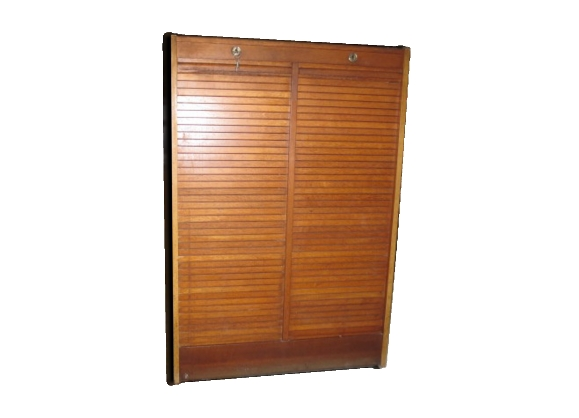meuble trieur en bois avec deux rideaux coulissants