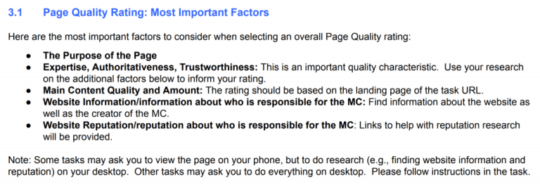 Google page quality rating factors