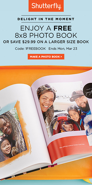 ALL customers qualify for 1 free 8x8 photo book or a $29.99 credit for larger size with promo code 1FREEBOOK