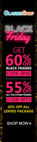 Black Friday Sale at GlassesShop.com - Save 60% off black frames with code BF60 - Valid 11/22 - 11/30 only