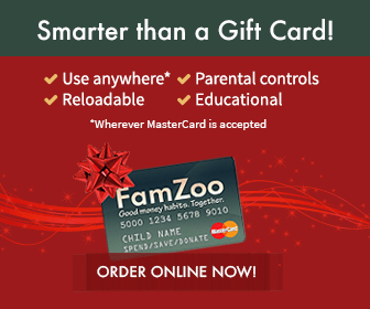 A FamZoo Prepaid Card: the Smart Way to Give Kids and Teens Money for the Holidays.
