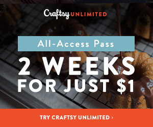 2 Weeks Craftsy Unlimited For Just $1 at Craftsy.com 5/19 - 5/23/18. No coupon code needed.