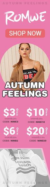 Autumn Feelings! Save $20 OFF $139 at us.ROMWE.com with code NINE20 Offer Expires - 09/23