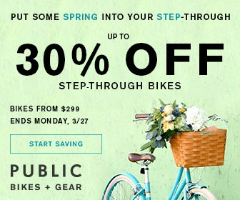 Shop Now and Save Up to 30% Off Women's Step-Through Models at PUBLIC Bikes. Bikes from $299. Quantities Limited. Ends 3/27.