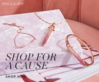 "Advertisement photo of Stella & Dot products on a white surface with blush pink background. Photo says ""Stella & Dot shop for a cause shop now""."
