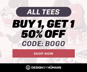 Buy one, get one 50% off on all tees with coupon code: BOGO