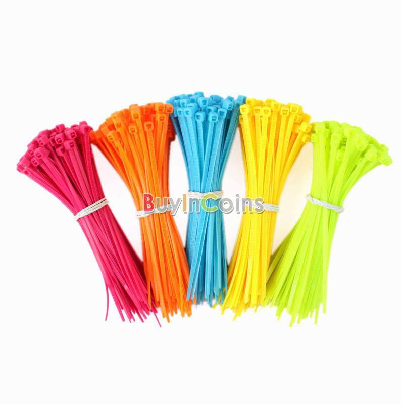 100PCS Mixed Color Plastic Cable Ties Wrap 102mm X 2mm Zip Tie Cable Wire Tidy