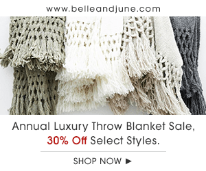 Belle and June's Annual Luxury Blanket Sale is Here! Shop luxurious hand woven throw blankets at 30% Off.