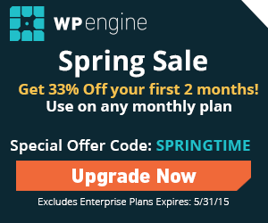 WP Engine Spring Sale special offer code SPRINGTIME for 33% off the first 2 months