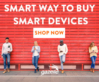 """Smart way to buy smart devices - shop now. Gazelle"" Advertisement photo of men and women standing in front of a red slatted background holding cell phones and looking at them."