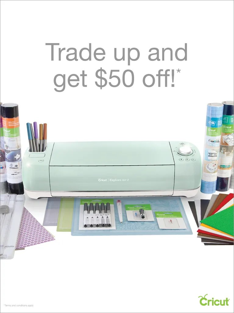 Cricut Explre Air 2 with Cricut supplies on white background