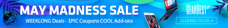 Enjoy Cool Add-ons & Epic Coupons @GearBest May Madness Sale! Get weekly updated deals for action cameras, smart watches and other cool gears.