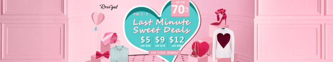Rosegal Valentines: Up to 70% OFF Last Minute Sweet Deals