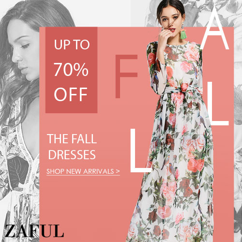 Fall Dress Sale: Enjoy Up to 70% OFF at Zaful.com. Ends: 30/9/2017.