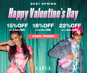 """ZAFUL V-Day Special Offer: $49-15%, $89-18%, $129-22% with code """"VD2021"""" (Feb 1st-Feb 22nd)"""