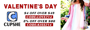 Valentine's Day! $4 Off Over $49 Code:Love214! 8% Off Over $60 Code:Kiss214! Free Shipping!