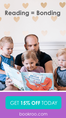 Reading = Bonding with a picture of a dad reading to his three kids.