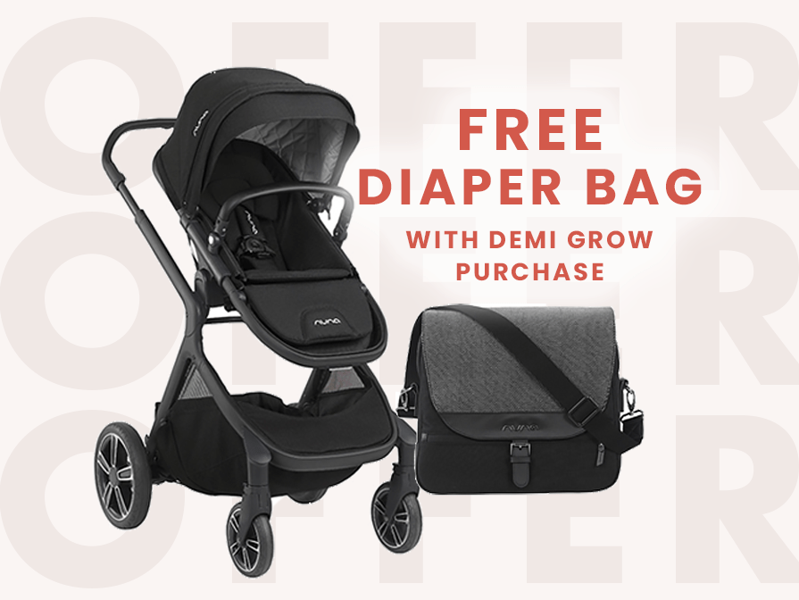 Get a free Nuna Diaper Bag with the purchase of a Nuna DEMI Grow during the month of May!