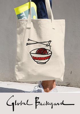 """Yarn Noodle"" Tote Bag -- red"
