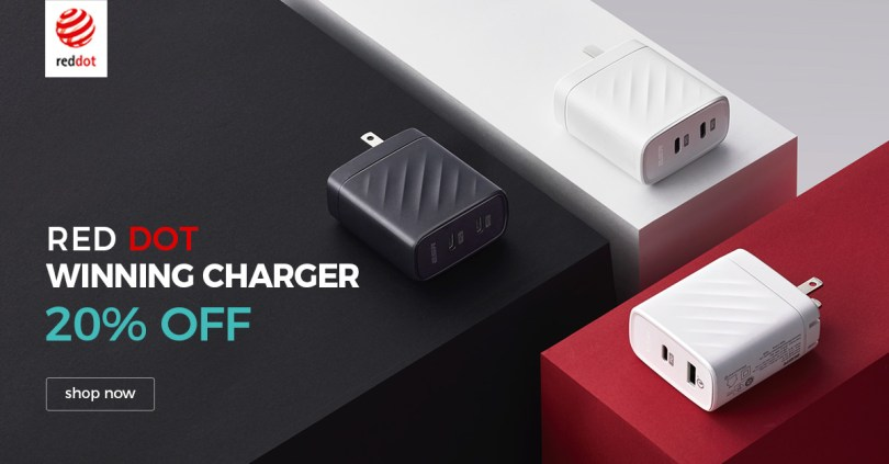 Get 20%Off for Our Red Dot Winning Charger Now. Classic Design, Dual Ports that can fast charges two devices simultaneously. Shop Now!