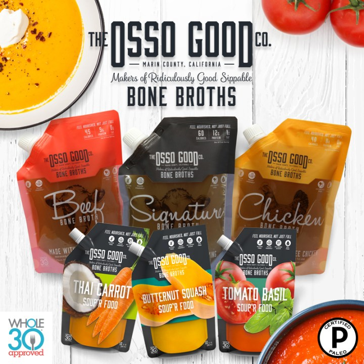 Affiliate link for The Osso Good Co. bone broths. Image shows a sample selection of products in a pouch type packaging including beef, signature, or chicken bone broths as well as thai carrot, butternut squash, and tomato basil soups